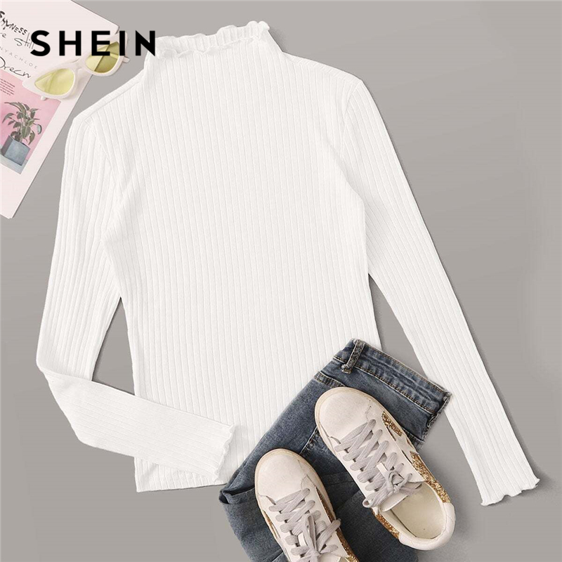 SHEIN Stand Collar Solid Lettuce Trim Ribbed Knit T Shirt Women Tees 2019 Autumn Long Sleeve Elegant Office Ladies Tshirts 1
