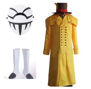 My Hero Academia Boku no Hero Academia Costume Mr.Compress Atsuhiro Sako Cosplay Costume Yellow Trench Coat Mask Full Suit(China)