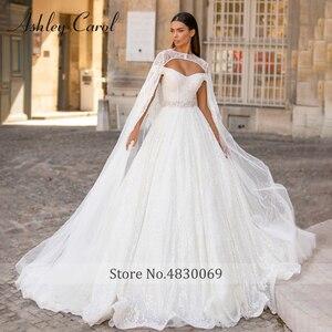 Image 2 - אשלי קרול נסיכת חתונה שמלת 2020 יוקרה חרוזים תחרה מתוקה עם גלימה להסרה אונליין כלה שמלת Vestido דה Noiva