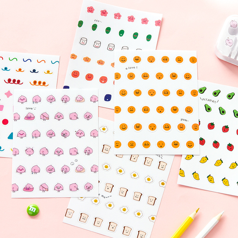2 Sheet Face Sticker Funny Cute Cartoon Creative Japanese Stationary Scrapbooking Diary Stickers Kawaii Gift Girl School Supply