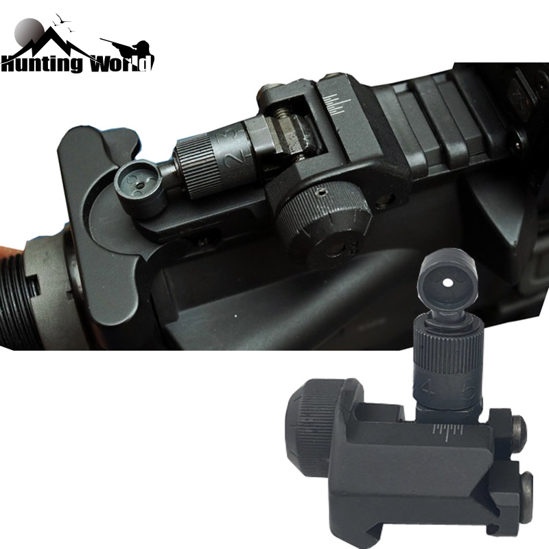 Tactical KAC Folding BUIS Rear Iron Sight CQB Fixed Backup Scope Sight Fit 20mm Picatinny Rail Mount For Hunting Airsoft M4 AR15