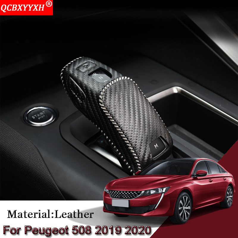 DIY Car Automatic Transmission Shift Leather Case Cover Car Accessories For Peugeot 508 2008 2019-2020 3008 4008 5008 2016-2019 image