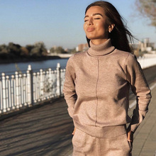 Women Sweater Suit Pullovers Track-Costume Knitted-Pants Turtleneck 2pieces-Sets Autumn Winter