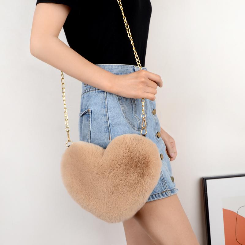 Crossbody Bags for Women Rex Rabbit Fur Love Bag Peach Heart Bag Chain Bag Fashion Shoulder Cross chain Female Bag