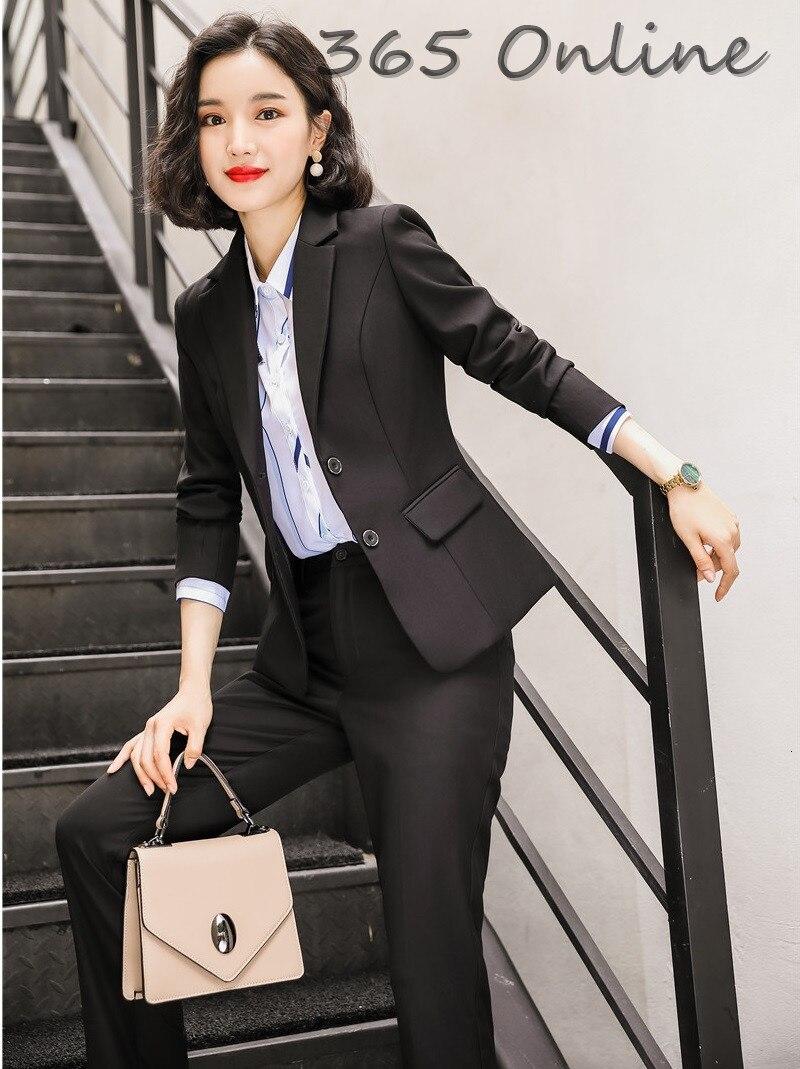 Novelty Black Formal Uniform Designs Female Pantsuits Autumn Winter Professional Business Suits With Pants And Jackets Coat Set