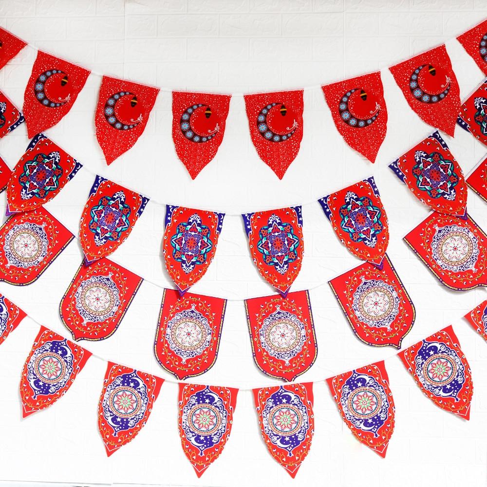 Eid Mubarak Ramadan Banner flags Happy Eid Islamic New Year Decor Happy Ramadan Muslim Festival Triangle flag Decor Supplies