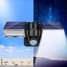 All-in-one 80LED Solar PIR Motion Sensor Wall Light Outdoor Dual Heads 3 Modes Waterproof IP65 For Home Street Garden Wall Light vioslite hot now product led light source and cool white color temperature cct all in one solar street light