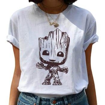 Baby Groot T-shirt  Harajuku Kawaii Ms. I Am Ullzang cute cartoon printing casual top Women