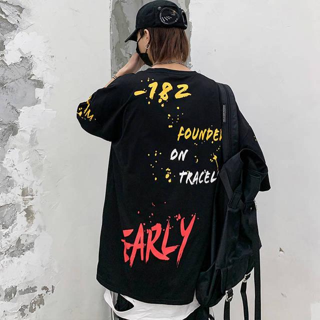 Camiseta de Hip-Hop coreana para hombre, Tops informales Harajuku, ropa de calle japonesa, camisetas con estampado de letras de calle para niño 3