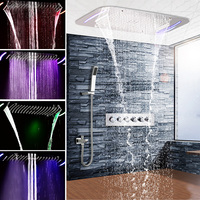 Rainfall Mistfall Ceiling Shower Set LED Thermostatic SPA Massage Waterfall Top Spray Shower Bathroom Concealed Reccessed Shower