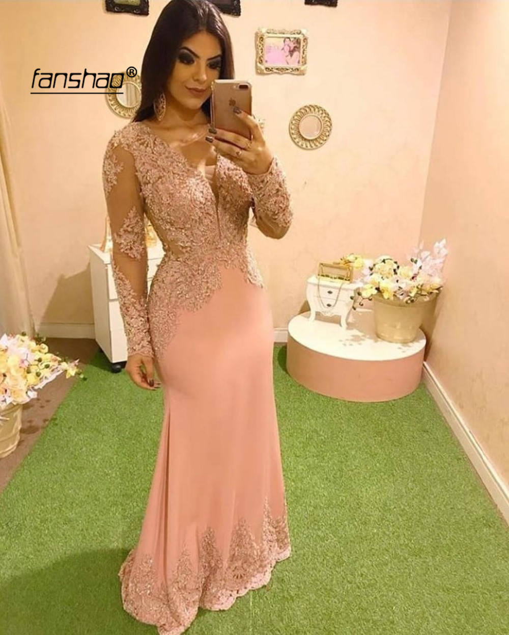 Peach Long Evening Dress Mermaid Full Sleeve Applique Dubai Special Occasion Dress Formal Dress Evening Party Gown Prom Dress