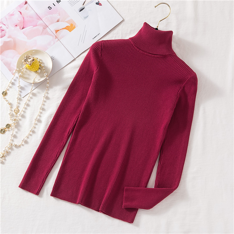 Vintage Turtleneck Female Sweater Solid Winter Warm Long Sleeve Sweater Casual Slim Knitted Pullovers Women Knitting