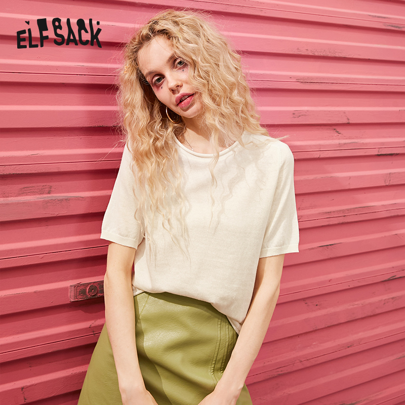 ELFSACK Multicolor Solid Minimalist Style Casual Women T Shirts 2020 Spring Pure Short Sleeve Korean Ladies Basic Daily Top