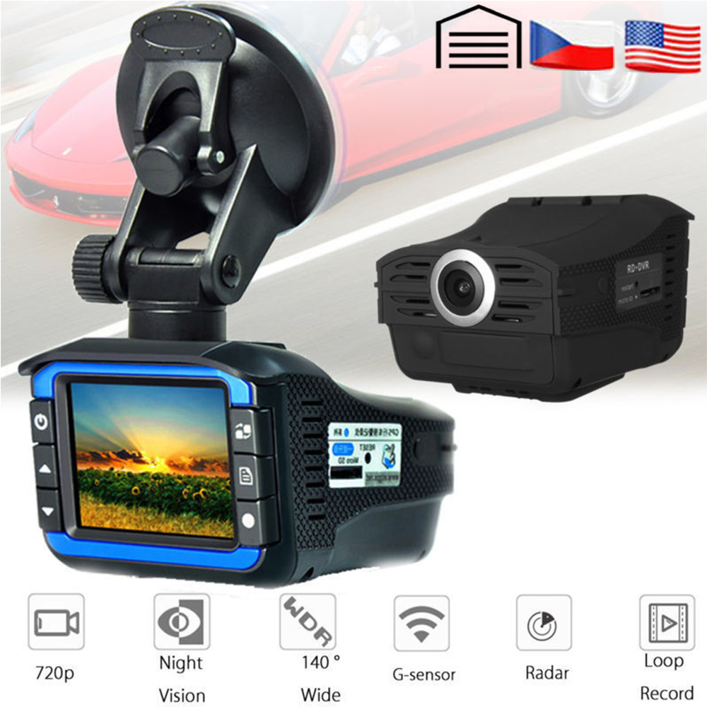 AKASO Full HD 720P Car DVR Camera 2in1 Car DVR Radar Detector Camera Video Recorder Dash Cam Laser Speed with G sensor Car DVRs in DVR Dash Camera from Automobiles Motorcycles