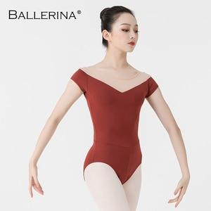 Image 5 - Bailarina ballet leotardo mujeres entrenamiento profesional yoga malla manga corta gimnasia leotardo danza traje Adulto 3582