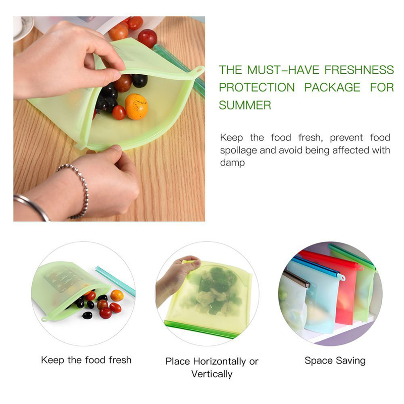 500ml Silicone Bag Reusable Food Zero Waste Ziplock Storage Refrigerator Fresh Bags