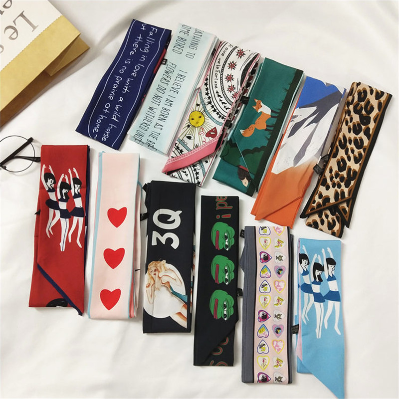 New Design Print Bag Strap Scarf  Womens Silk Scarf Fashion Head Scarf Headwear Long Scarves Art Bag Accessories Ribbon WP13