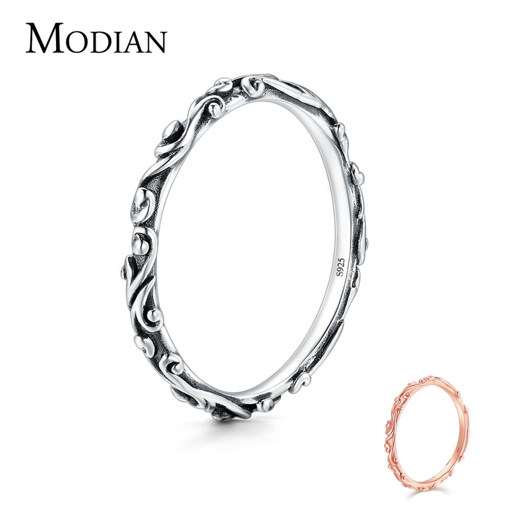 Modian 100% Real 925 Sterling Silver Vintage Pattern Stackable Classic Finger Ring For Women Fashion Wedding Christmas Jewelry