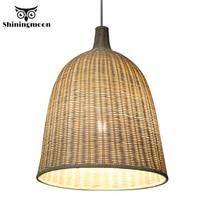 Southeast Asia Hand Made Bamboo Pendant Lights Chinese Classical art Decor Wooden Pendant Lamp Restaurant Bar Hanglamp Luminaria