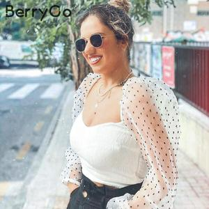 Image 5 - BerryGo Fashion sexy off shoulder blouse shirt women Casual cool blouse female top 2020 new Spring summer white mesh blouse