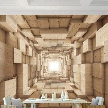 Custom large mural 3D wallpaper Modern creative 3D expansion space wood grain stereo TV wall