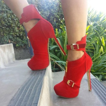 Karinluna plus Size 47 Red Sexy Spring Autumn Platform Shoes Woman Boots Female High Heels Party Ankle Boots Women Shoes