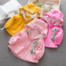 Ветрозащитное пальто с капюшоном и ушками для маленьких девочек; Верхняя одежда; повседневная одежда из мягкого хлопка; пальто с длинными рукавами для девочек