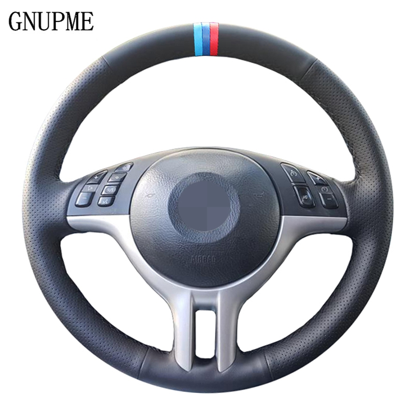 DIY Customized Hand-Stitched Black Artificial Leather <font><b>Car</b></font> Steering Wheel Covers for <font><b>BMW</b></font> E39 E46 325i E53 X5 X3 3 colors <font><b>stripes</b></font> image