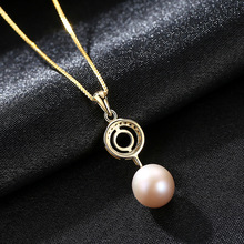 цены YUEYIN S925 Pure Silver Necklace Natural Pearl Pendant Inlaid 3A Zircon Plated 18K Real Gold Lady Necklace Jewelry for Women