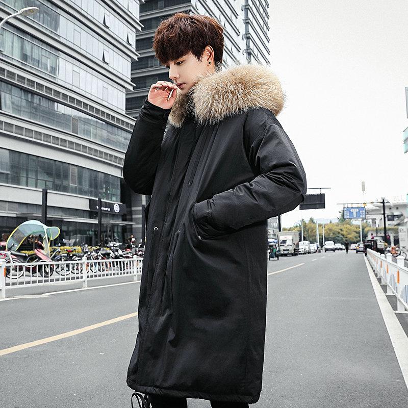 Men's Long Down Jacket Fashion Big Hair Collar White Duck Down Black