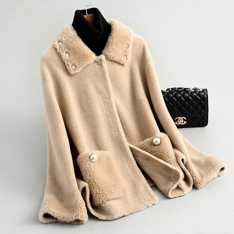 Fur Shearling Sheep Korean Jacket Real Fur Coat 2020 Autumn Winter Jacket Women Real Wool Coats Chaqueta Mujer MY3507 S