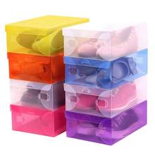 Hot Transparent Staub-proof Schuhe Box Kunststoff Schuhe Organizer Container Conmestic Lagerung Box Kleinigkeiten Lagerung Schublade Container(China)