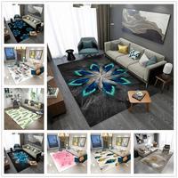 Pena série 3d impresso tapetes para sala de estar quarto tapetes área delicada abstrato moderno casa tapete crianças quarto jogar