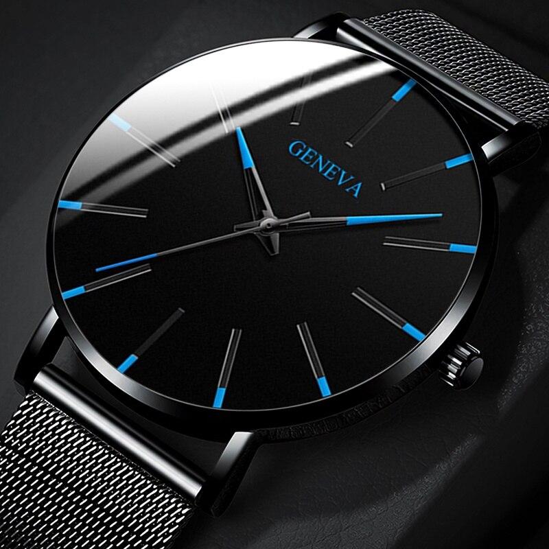 Relojes Masculino Fashion Mens Black Watches Luxury Stainless Steel Strap Analog Quartz Wristwatch Men Business Casual Clock