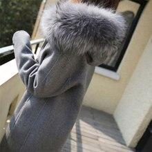 Gray Long Hooded Wool Blend Coat Women Winter Casual Korean Warm Slim Ladies Woolen Coats Vogue Sleeve Zipper Jacket Female
