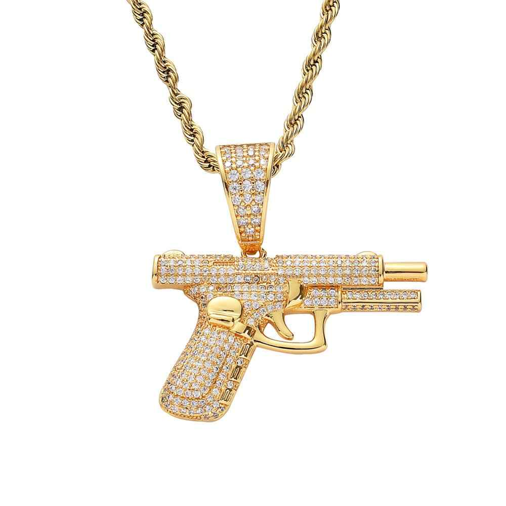 Bling bling pistol gun Pendant Brass Micro pave CZ Zircon stones Necklace Jewelry HIP-HOP Necklace Men'S Iced Out Rock Jewelry