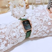 2021 European women's luxury watch ORCO rectangular green ladies watch. Vintage Malachite Green Small Watch Fashion Simple Watch