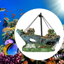 Resin Home Aquarium Ornament Wreck Sunk Ship Aquarium Ornament Sailing Boat Destroyer Fish Tank Tank Aquarium Decoration(China)