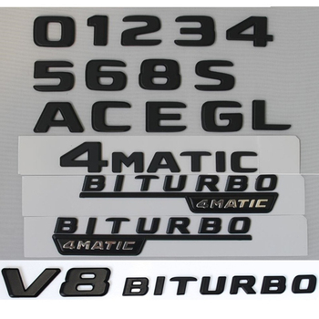 DIY Letters Numbers A C E G K L M S O D E 0 1 2 3 4 5 6 8 Badge Emblems for Mercedes Benz Trunk Logo V8 Biturbo 4MATIC 2016+ image