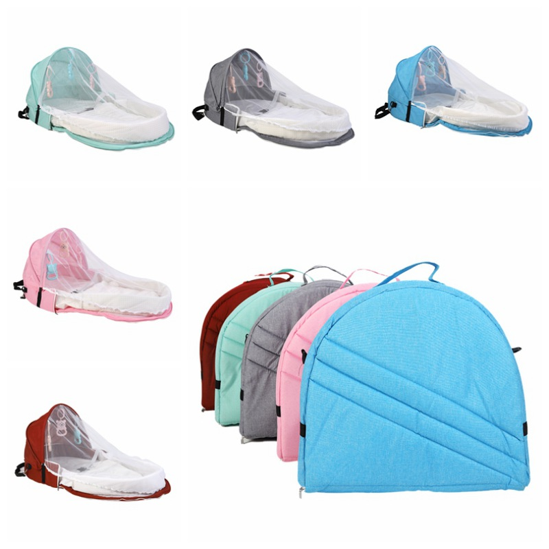 Baby Travel Bed Sun Protection Mosquito Net Breathable Infant Baby Bed Sleeping Basket With Toys