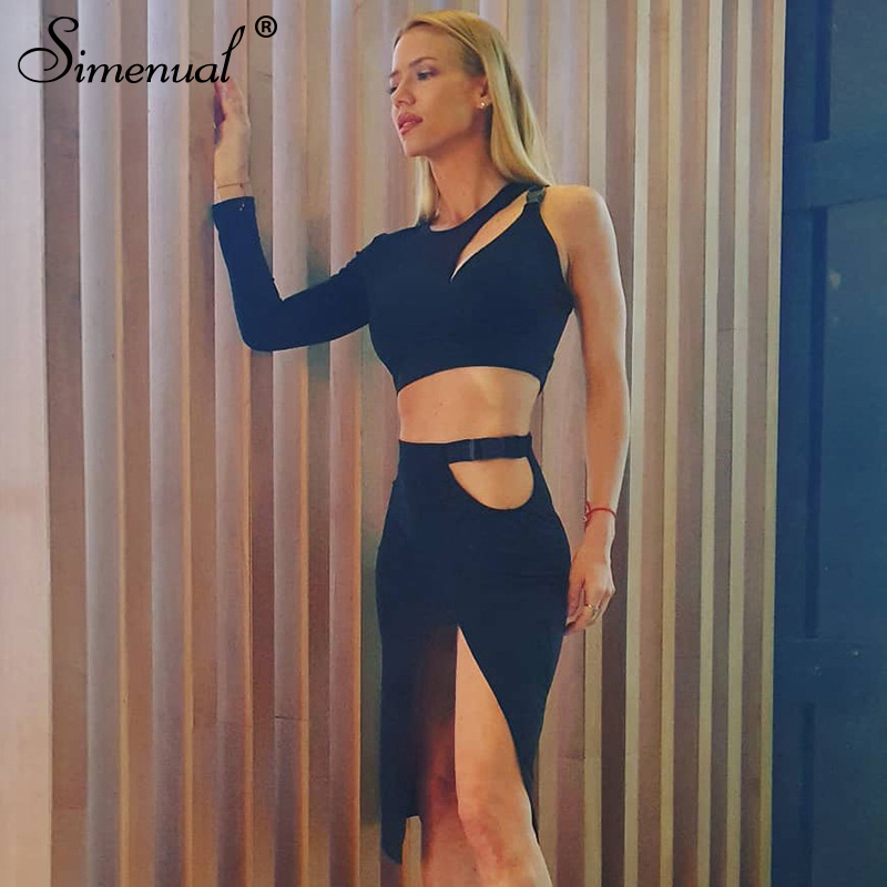 Simenual Fashion Solid Women Top And Skirt Sets Casual Hollow Out One Shoulder Two Piece Outfits Side Slit 2020 Hot Matching Set