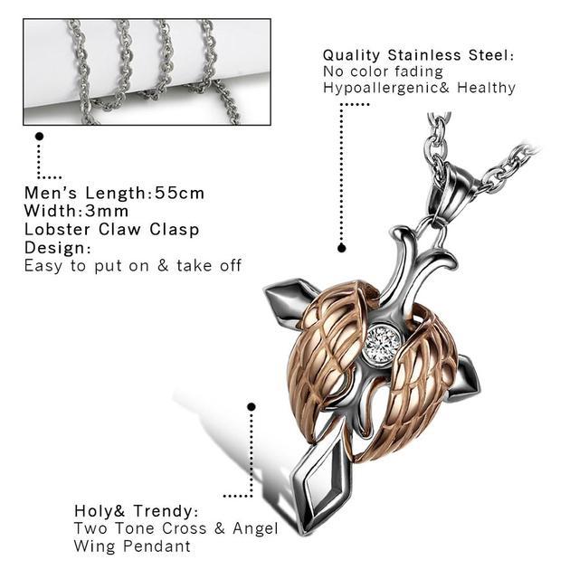 2020 Vintage Cool 316l acier inoxydable collier pour hommes femmes ange aile croix pendentif colliers chaîne 22 pouces hombre collares