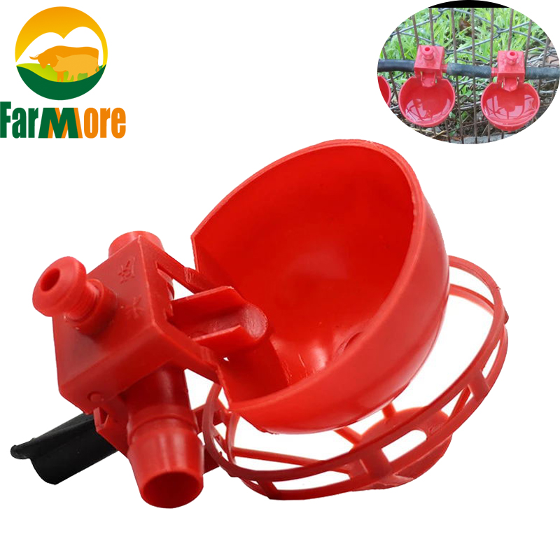 20 Pcs Adjustable Chicken Drinkers Plastic Drinking Bowls For Chikens Bird Poultry 9.5mm  Water Drinking Fountain With Tray New