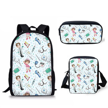 Cute Cartoon Nurse Pattern 3PCS Children Book Bag Schoolbags Middle School Kids Backpack for Teen Girls Boys Casual School Bags cheap doginthehole Polyester zipper 370kg 44inch C+E+K 13inch 28inch Backpack+Messenger Bag+Pencil Bag School Travelling Outdoor