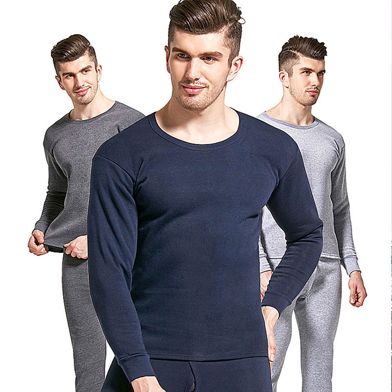 Newly 2019 Fashion Men Seamless Elastic Warm Plus Velvet Thick Inner Wear Thermals Pure Color Underwear Pants Set Homewear