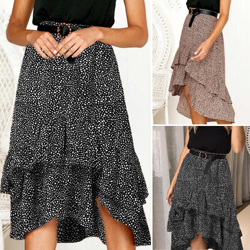 VONDA 2020 Summer Skirts Women Casual Elastic Waist Polka Dot Irregular Hem Midi Skirts Plus Size Holiday Beach Chiffon Skirt