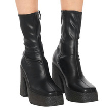 Sock Boots Heel Platform Chunky-Heel-Shoes Stretch Women Brand-Designed Elastic Ankle