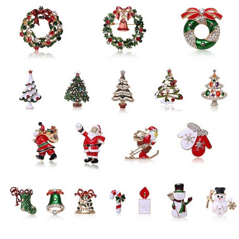 Лидер продаж, брошь, креативный Рождественский подарок, брошь Санта-елка, носки, перчатки для снеговика, гирлянда, стразы булавка-брошь, пода...