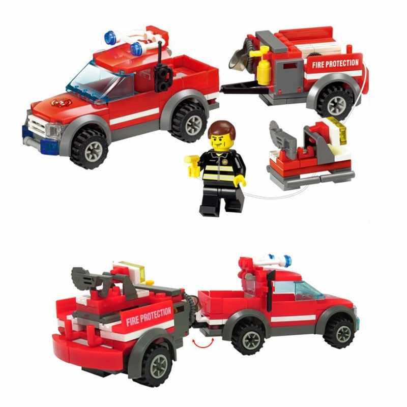 206pcs Legoings כיבוי אש משאית דגם DIY אבני בניין קיט לילדים מוקדם חינוך צעצוע Brinquedos מתנה