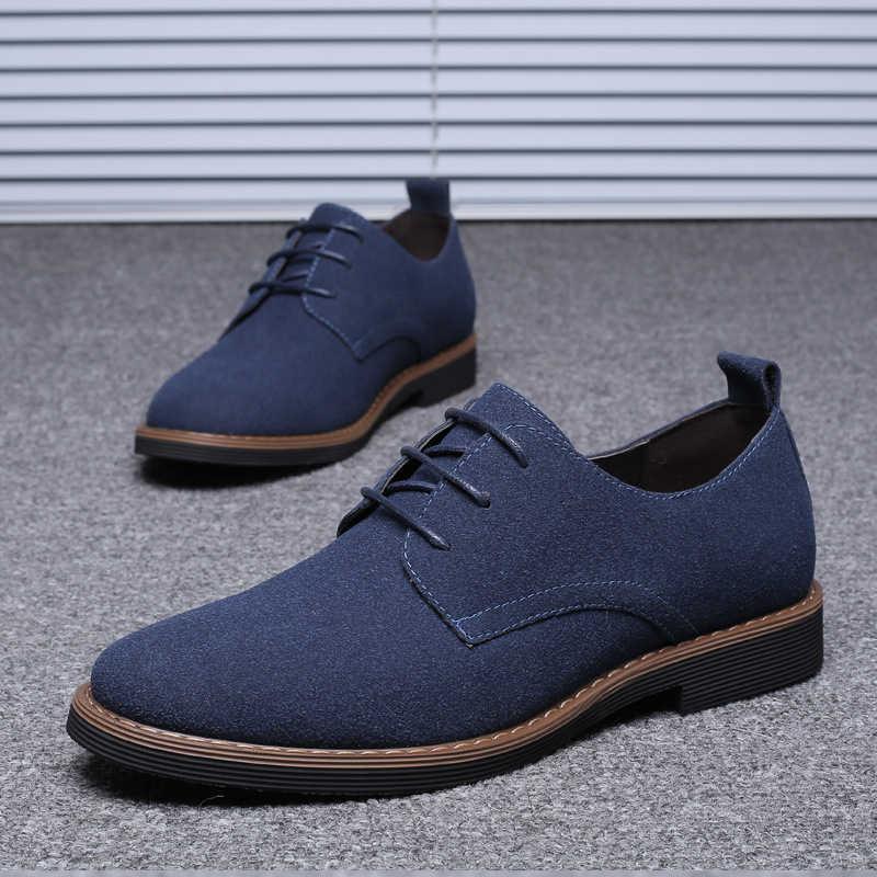 Da Bò Sneakers Nam Xanh Dương/Đen/Xám/Nâu Plus Size 38-48 Thoáng Khí Nam 2020